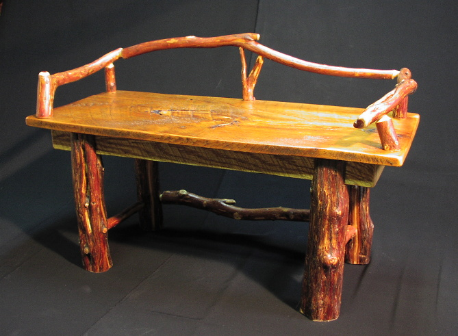 Custom Log Furniture   Red Cedar Leg Bench