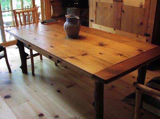 Attractive ... Custom Harvest Table   Antique Wood Of Ponderosa Pine ...