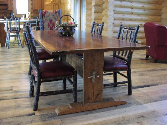 Custom Trestle Table - Antique Walnut and Oak
