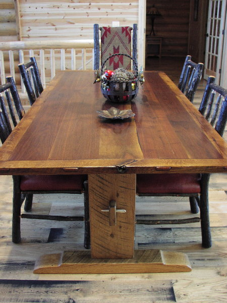 Superior Harvest Table   Walnut And Oak Trestle Table ...