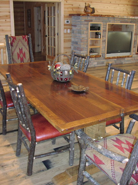 Charming ... Harvest Table   Walnut And Oak Trestle Table