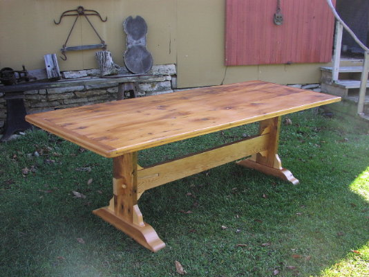 Custom Trestle Table   Antique Pine