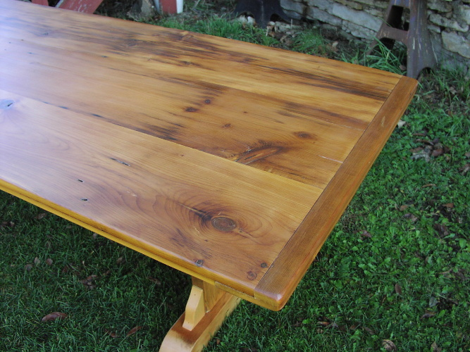 ... Custom Trestle Table   8 Foot Long Antique Pine ...