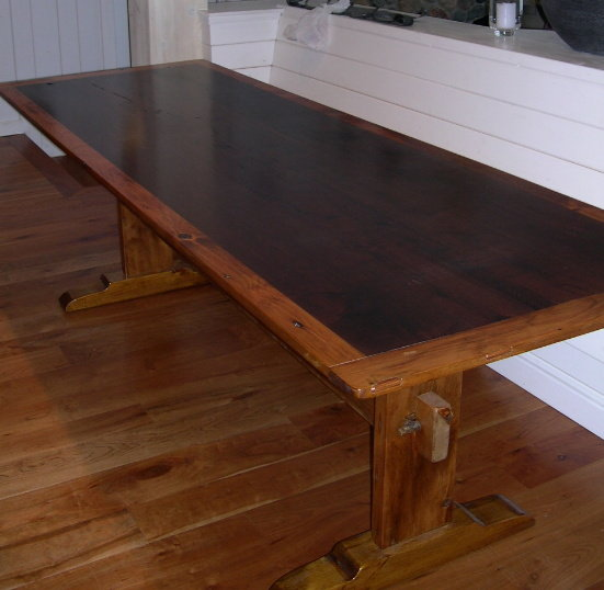 ... Custom Farm Table   Trestle Style Harvest Table From Antique Walnut And  125 Year Old Pine ...