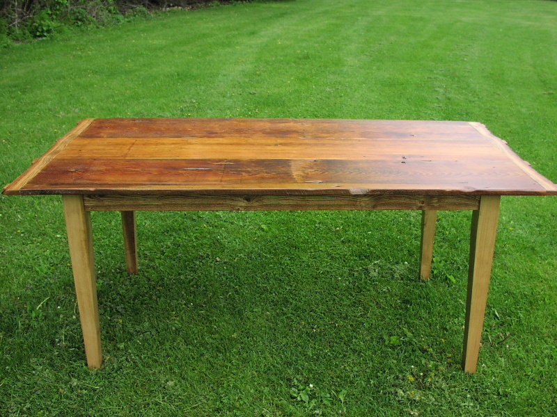 Custom Harvest Table   Antique White Pine And Ash ...